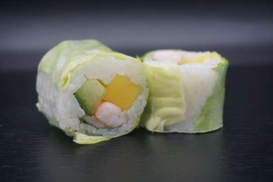 Spring rolls crevette mangue concombre